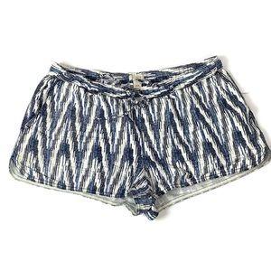 J. Crew White Blue Ikat Print Linen Cotton Shorts